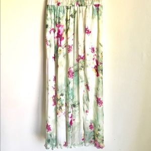 Dresses & Skirts - Boho Maxi Skirt Sheer Pink Floral Print Lined